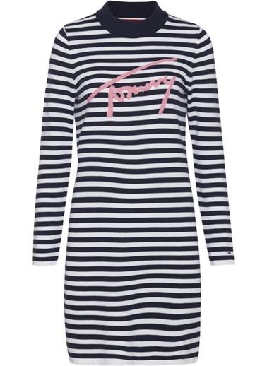 Tommy Hilfiger Kadın Tjw Longsleeve Stripe Elbise DW0DW05739 Lacivert